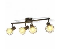 vidaXL Cadre noir de projecteur industriel à 4 ampoules LED incandescence