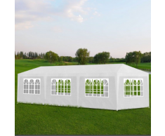 vidaXL Tonnelle de jardin Tente réception Chapiteau Blanc 3x9m