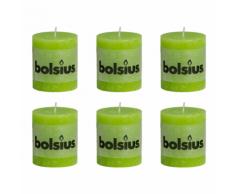 Bolsius Lot de 6 bougies 80 x 68 mm vert