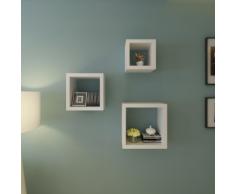 vidaXL Etagères Design Murale 3 Cubes blanc