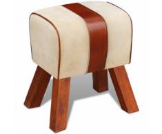 vidaXL Tabouret Toile et cuir véritable Marron 40 x 30 45 cm