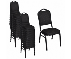 vidaXL 20 pcs Chaise empilable rembourrée Noir