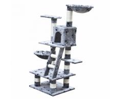 vidaXL Arbre à chat 122 cm en gris avec motif d'empreinte de patte