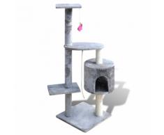 vidaXL Arbre à chat en gris 114 cm1 niche