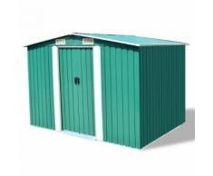 vidaXL Abri de stockage pour jardin Métal Vert 257 x 205 178 cm