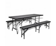 vidaXL Ensemble table de jardin pliable avec 2 bancs PEHD faux rotin noir