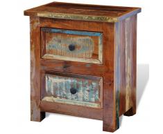 vidaXL Armoire de chevet en bois solide recyclé avec 2 tiroirs