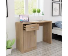 vidaXL Bureau avec tiroir et placard 100 x 40 73 cm Chêne
