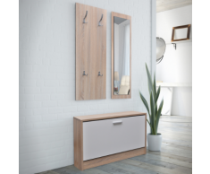 vidaXL Vestiaire d'entrée 3 éléments en bois Blanc et aspect chêne