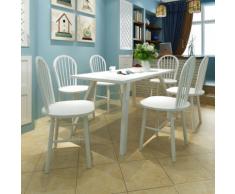 vidaXL Lot de 6 chaises salle à manger en bois Ronde Blanche