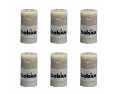 Bolsius Lot de 6 bougies 130 x 68 mm gris claire