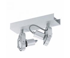 EGLO Réglette 2 spots LED en aluminium Novorio 2L 94643