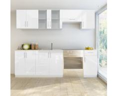 vidaXL Set de 7 meubles cuisine blanc brillant 240 cm