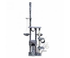 vidaXL Arbre à chat en gris avec empreinte de patte 220-240 cm 1 niche
