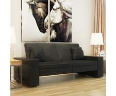 vidaXL Canapé-lit avec larges accoudoirs en cuir artificiel Noir