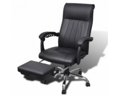 vidaXL Fauteuil de bureau noir en simili cuir avec repose-pieds réglable