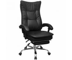 vidaXL Chaise de bureau inclinable avec repose-pieds Noir