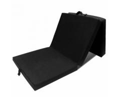 vidaXL Matelas en mousse pliable noir 190 x 70 9 cm