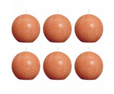 Bolsius bougie boule rustique orange 80mm 6 pièces