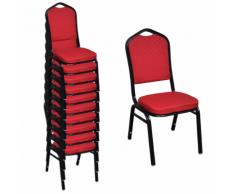 vidaXL Chaise de salle à manger 10 pcs Empilable Tissu Rouge