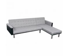 vidaXL Canapé-lit d'angle Tissu Noir et gris