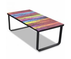 vidaXL Table basse en verre Design arc-en-ciel