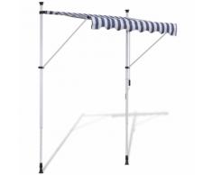 vidaXL Auvent rétractable manuel 200 cm Bleu/blanc