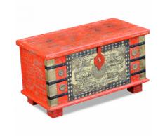 vidaXL Coffre de rangement Bois manguier rouge 80 x 40 45 cm