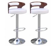 vidaXL 2 tabourets de bar blancs en cuir artificiel avec dossiers bas courbés