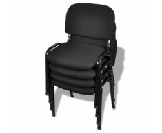vidaXL Chaises de bureau empilables 4 pièces Tissu Noir