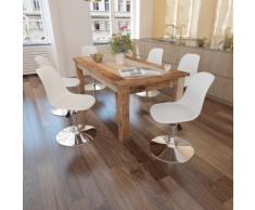 vidaXL Chaise de salle à manger 6 pcs Hauteur réglable Blanc