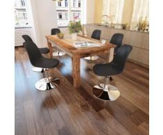 vidaXL Chaise de salle à manger 6 pcs Hauteur réglable Noir