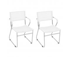 vidaXL Chaise empilable avec accoudoir 2 pièces Blanc