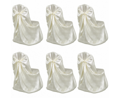 vidaXL Housse de chaise crème pour le banquet mariage 6 pièces
