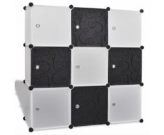 vidaXL Étagère noir et blanc à 9 compartiments cubiques 110 x 37 cm