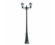 vidaXL Lampadaire extérieur double hauteur 215 cm vert foncé