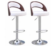 vidaXL 2 tabourets de bar en faux cuir blanc avec dossiers cintrés rembourrés