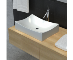 vidaXL Vasque de salle bains céramique haute brillance Blanc