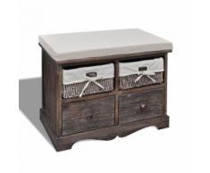 vidaXL Banc de rangement brun en bois avec 2 paniers tissage et tiroirs