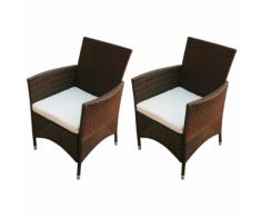 vidaXL ensemble chaise de jardin en poly rotin 2 pcs marron