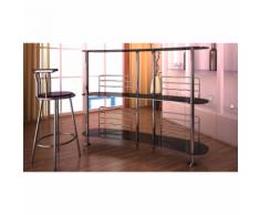 vidaXL Meuble de Bar - verre trempé noir 138 x 39 110 cm