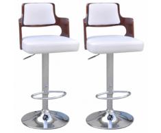 vidaXL 2 tabourets de bar blancs en cuir artificiel avec dossiers carrés