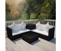 vidaXL Salon de jardin en polyrotin noir avec coffre rangement