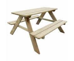 vidaXL Table de pique-nique pour enfants 89 x 89,6 50,8 cm Pinède