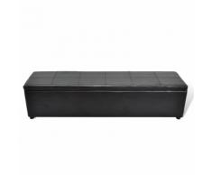 vidaXL Banc banquette coffre de rangement noir taille large