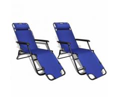 vidaXL Ensemble de 2 Chaises longues pliables bleu avec repose-pied
