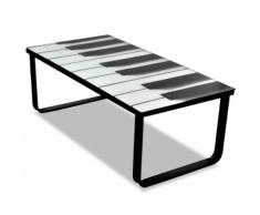 vidaXL Table basse en verre Design piano