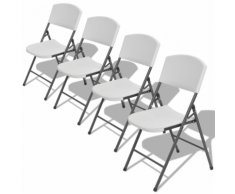 vidaXL Chaises de jardin pliantes 4 pièces PE-HD Blanc