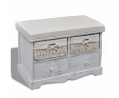 vidaXL Banc de rangement blanc en bois avec 2 paniers tissage et tiroirs