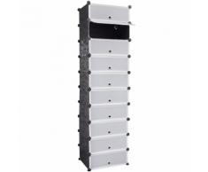 vidaXL Meuble à chaussure noir et blanc 10 compartiments 47 x 37 172 cm